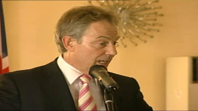 tony blair farewell tour int tony blair mp press conference sot if politics is to mean anything at all it is coming and looking at poverty and... - office politics stock videos & royalty-free footage