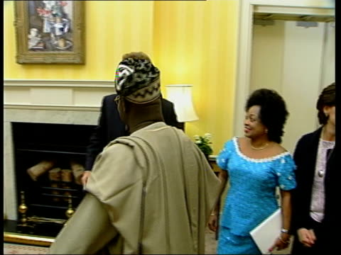 Tony Blair greets Nigerian president *BEWARE London Downing Street INT Tony Blair MP along greets Olusegun Obasanjo delegates / all pose for press...