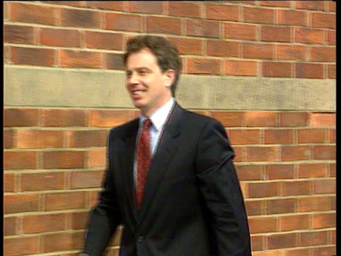 Tony Blair greets press at his constituency to announce he is standing for leader of Labour Party Sedgefield 11 Jun 94