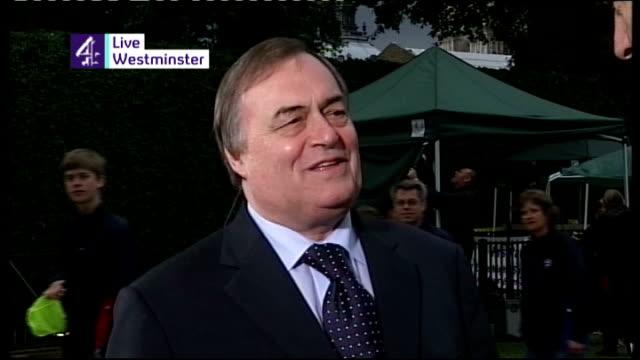 tony blair handover of power to gordon brown england london westminster ext john prescott mp live interview sot it reminded me of the wonderful... - john prescott politiker stock-videos und b-roll-filmmaterial