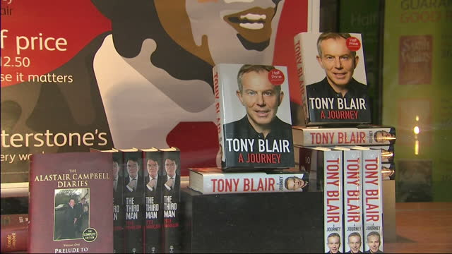tony blair has cancelled a book signing in central london on wednesday after telling sky news he feared it would be disrupted by protestors blair... - tony blair stock-videos und b-roll-filmmaterial