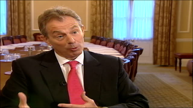 tony blair interview; england: london: downing street: int tony blair mp interview sot - the important thing is to get it to stop, and the only way... - lebanon country stock videos & royalty-free footage