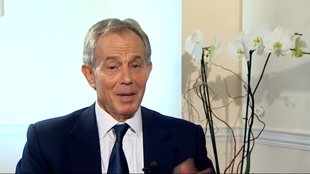 Tony Blair interview re Iraq war and the uprising in Syria Tony Blair interview continued SOT