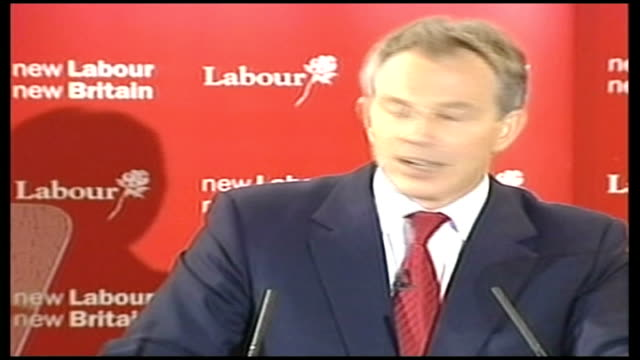 tony blair makes farewell visit to washington; lib england: county durham: sedgefield: trimdon labour club: tony blair mp speech sot - decided we... - mp stock-videos und b-roll-filmmaterial