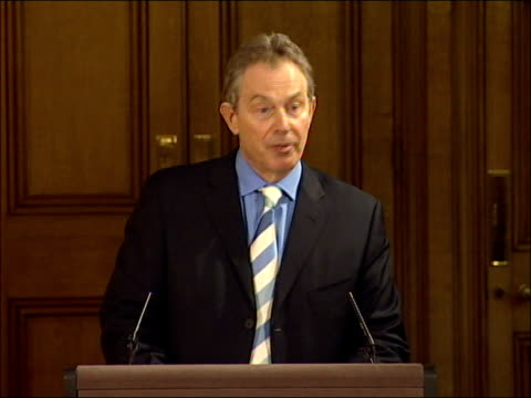 tony blair monthly press conference; england: london: 10 downing street: int tony blair mp press conference sot - last 18 months been busy periods of... - social services stock videos & royalty-free footage