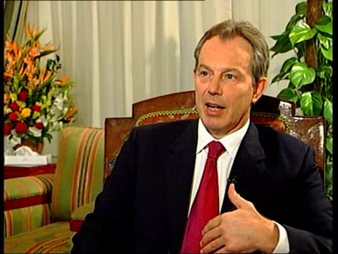 tony blair mp interviewed sot - at first it seemed a terrible disaster, a terrible tragedy, but i think as the days have gone on people have... - 50 seconds or greater stock-videos und b-roll-filmmaterial
