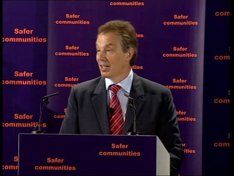 INT Tony Blair MP speech SOT there is feel among criminal community that change is happening/ however for the public it's not fast or tough enough/...