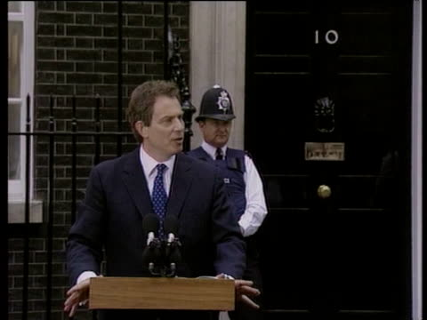 tony blair pays tribute to his predecessor john major after labour party election victory london; 02 may 97 - anno 1997 video stock e b–roll