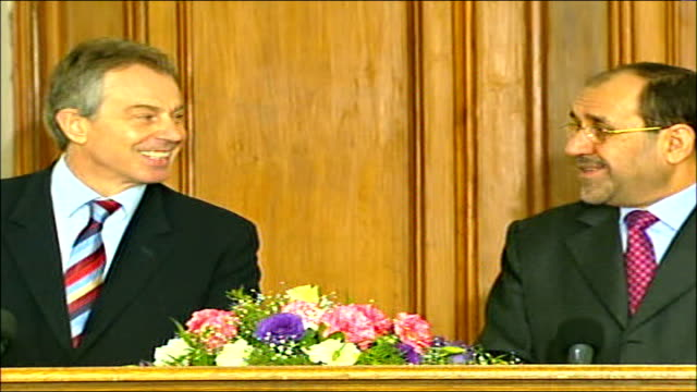 tony blair press conference with iraqi prime minister nouri almaliki blair and nouri almaliki leaving news conference - iraqi prime minister stock videos & royalty-free footage