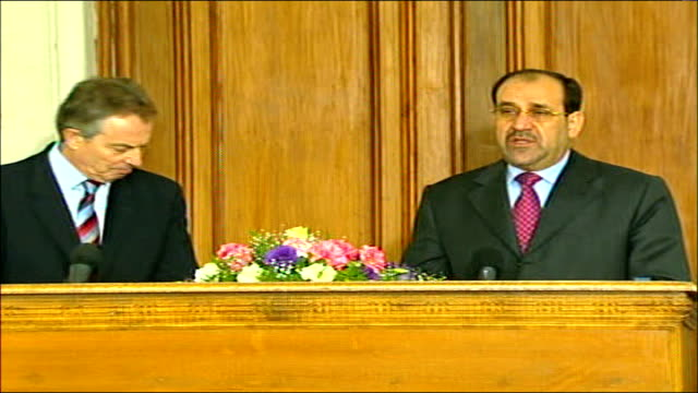 tony blair press conference with iraqi prime minister nouri almaliki nouri almaliki press conference sot regarding the second question about the... - iraqi prime minister stock videos & royalty-free footage