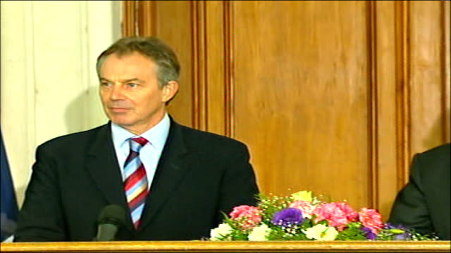 tony blair press conference with iraqi prime minister nouri almaliki [question kidnapping at the red crescent offices we know the iraqi civilian... - iraqi prime minister stock videos & royalty-free footage