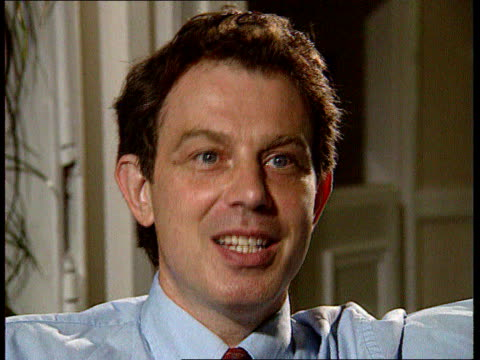 tony blair profile; itn england: london: int cms tony blair intvwd sot - i joined the lab pty when it was going through a bad period / but it was on... - no doubt band stock videos & royalty-free footage