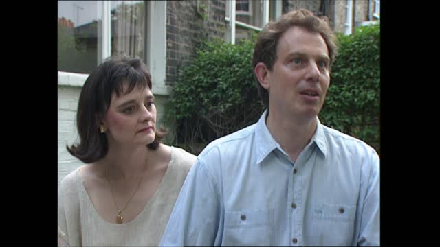 tony blair profile setups and interview; england: london: islington: ext tony blair mp and wife cherie blair in garden interview sot. - strong... - disrespect stock videos & royalty-free footage