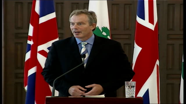 tony blair promises uk help in rebuilding amid beirut protests; reporter asks question sot tony blair mp press conference sot - of course feelings... - lebanon country stock videos & royalty-free footage