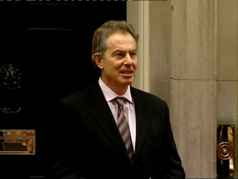 Tony Blair receiving Felipe Calderon at Downing Street ENGLAND London Downing Street EXT Tony Blair MP waiting on doorstep then greeting Felipe...