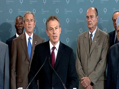 tony blair responds to news of london bombings surrounded by other world leaders at g8 summit 7th july 2005 - g8 summit stock videos & royalty-free footage