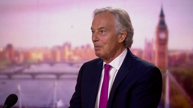 """tony blair saying it is important to distinguish """"between the vaccinated and non-vaccinated"""" in regards to covid - majestic stock videos & royalty-free footage"""