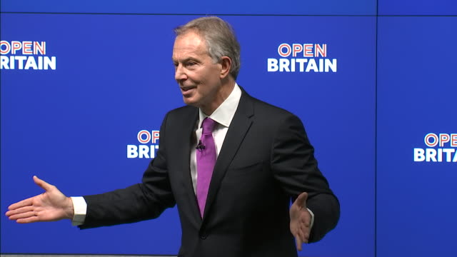 vídeos de stock e filmes b-roll de tony blair saying that it is a free country and people can choose to listen to him or not, regarding his thoughts on brexit, which he believes is a... - cargo governamental
