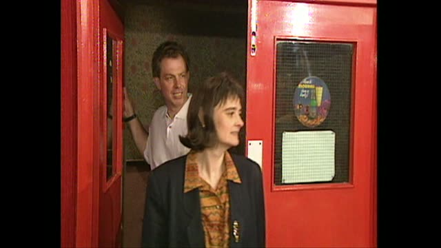 tony blair, shadow home secretary, with wife cherie blair at trimdon constituency labour club in sedgefield, 1994 - shadow stock videos & royalty-free footage