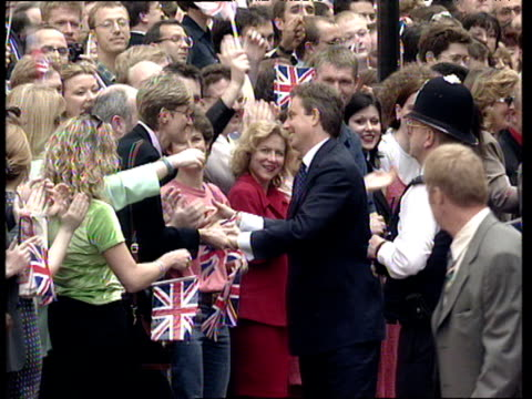 tony blair shakes hands with cheering crowds on day he became prime minister 02 may 97 - british labour party stock videos & royalty-free footage