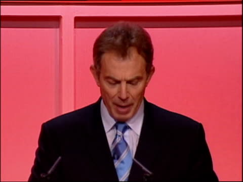 tony blair spain visit/welsh labour party address gary gibbon swansea int la ms tony blair mp onto stage and along to shake hands with delegates ms... - weapons of mass destruction stock videos and b-roll footage