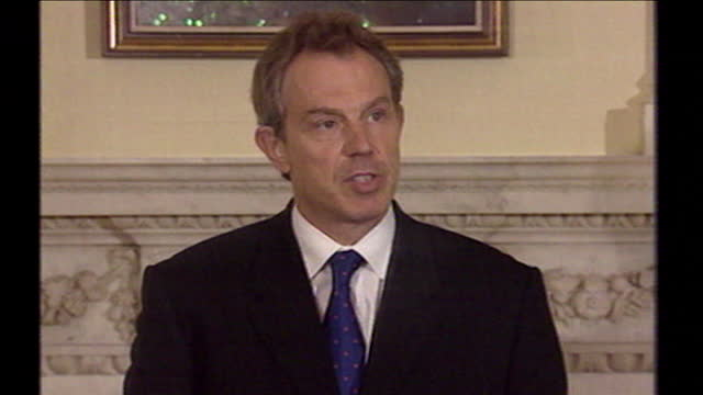 tony blair, speaking at a press conference, confirms security measures around the uk have been increased in the wake of the 9/11 terror attacks... - september 11 2001 attacks stock videos & royalty-free footage