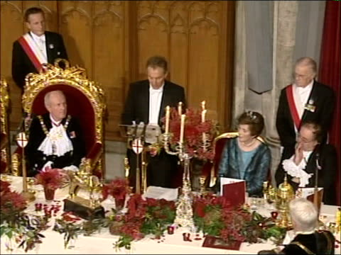 tony blair speaks about iran and syria at the guildhall england london city of london guildhall int tony blair mp speaking at lord mayor's banquet... - lord mayor of london city of london stock videos & royalty-free footage