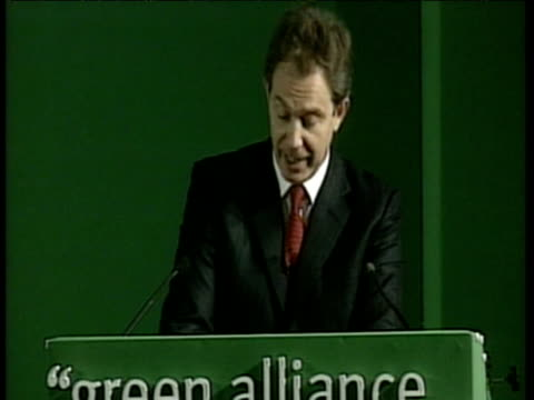 tony blair speaks at green alliance conference about effect that spoiling environment will have on children england; 24 oct 00 - body care stock videos & royalty-free footage