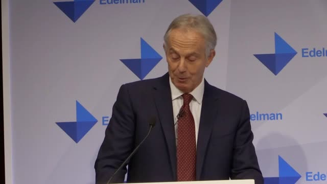 tony blair speaks at launch of edelman trust barometer 2019 he suggests the only way to counter populism is to strengthen the centre ground in... - populism stock videos and b-roll footage