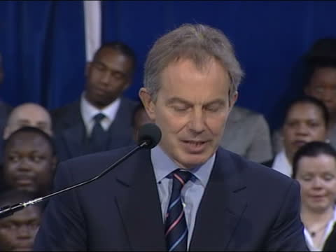 tony blair speaks at power of one event with community leaders in brixton; england: london: brixton: int general views of bishop john francis as he... - cheerful stock videos & royalty-free footage