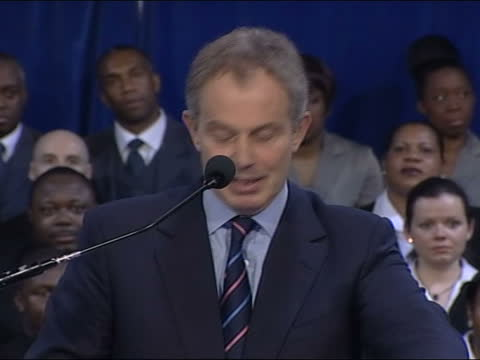 tony blair speaks at power of one event with community leaders in brixton; england: london: brixton: int tony blair mp speech sot - there is another... - incidental people stock videos & royalty-free footage