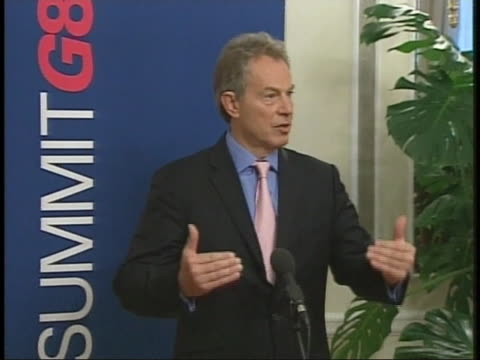 tony blair speaks at the 2006 g8 summit in st petersburg russia - (war or terrorism or election or government or illness or news event or speech or politics or politician or conflict or military or extreme weather or business or economy) and not usa video stock e b–roll