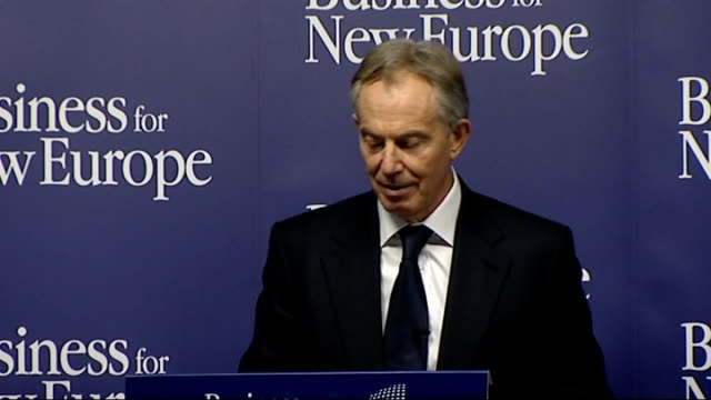tony blair speech at business for new europe event; tony blair speech sot **check against delivery** - first, take a big step back from crisis and... - made in usa点の映像素材/bロール