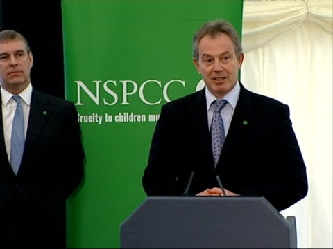 Tony Blair speech at children's charity campaign event ENGLAND London Tottenham Maya Angelou Centre INT Tony Blair MP speech SOT as Prince Andrew...