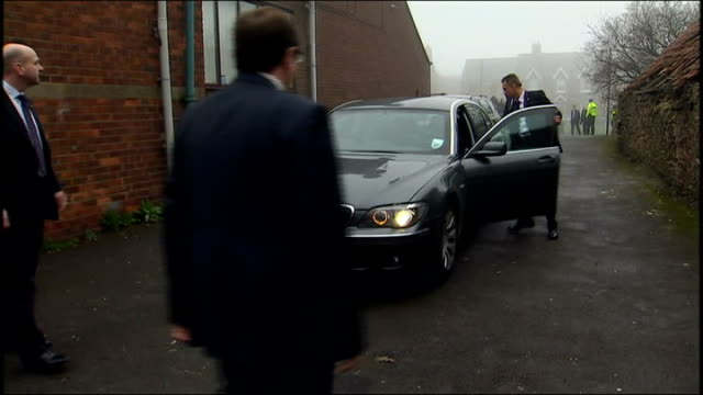 arrival england county durham sedgefield former prime minster tony blair arriving by car met by labour party members and into building - tony blair stock-videos und b-roll-filmmaterial