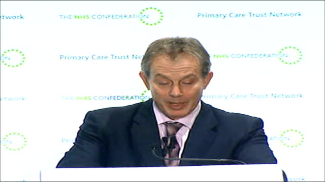 tony blair speech calling for further nhs reforms the other thing of course that is happening increasingly is that technology is empowering us to... - three quarter length stock videos & royalty-free footage
