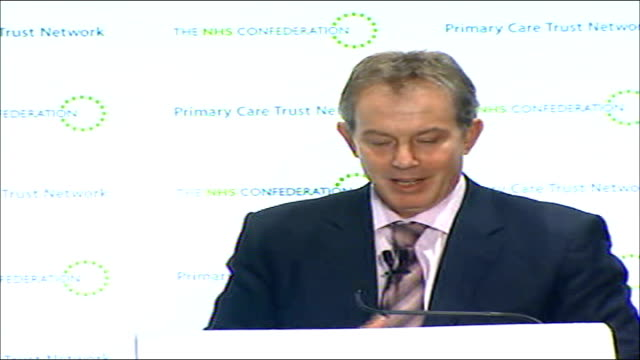 tony blair speech calling for further nhs reforms tony blair mp speech sot thank you i am delighted to be here with jill and with david and with... - pct stock videos and b-roll footage