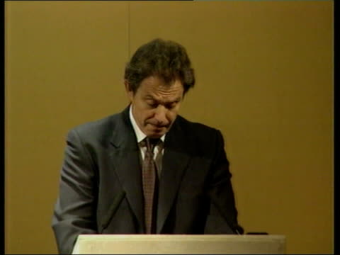 tony blair speech; itn england: london: int tony blair mp speaking at farmers' conference blair thru heads in f/g blair seen projected on screen tony... - 12 13 years stock videos & royalty-free footage