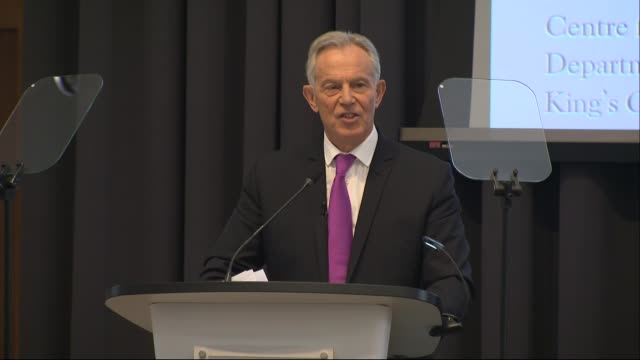 tony blair speech marking the 120th anniversary of the labour party's founding; england: london: strand: kings college london: int tony blair speech... - politics and government stock videos & royalty-free footage