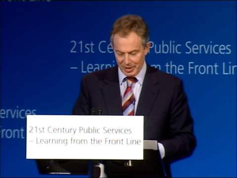 stockvideo's en b-roll-footage met tony blair speech on crime and public services; - however, as the additional investment goes in, so people's expectations of the type of service they... - 40 seconds or greater