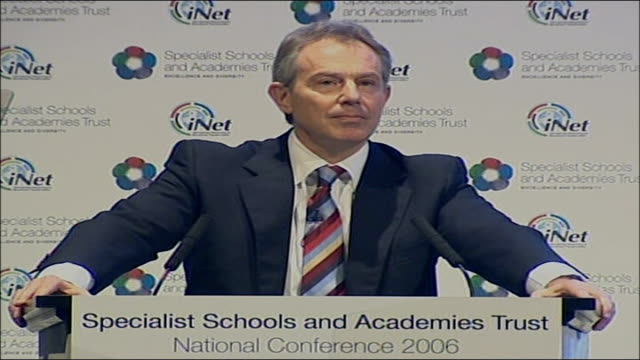 tony blair speech on education reforms; tony blair mp speech sot - praises and thanks trust for its work/ i probably visit more schools than any... - social justice concept 個影片檔及 b 捲影像