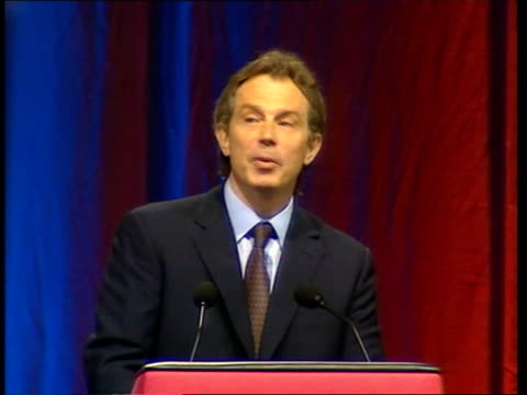 tony blair speech to women's institute; itn england: london: wembley arena: int cms blair's hands pm tony blair mp speech sot - opportunity for all... - wembley arena stock videos & royalty-free footage