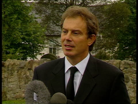 tony blair statement; itn reporter michael brunson heard to ask question sot - prime minister, we understand there may be a suspension of campaigning... - respect stock videos & royalty-free footage