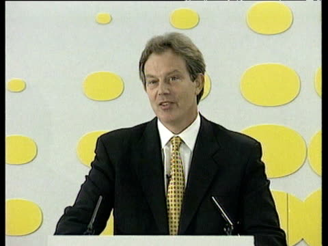 tony blair tells press that government will not alter policy on petrol taxation despite blockades and pickets london 15 sep 00 - fuel crisis stock videos and b-roll footage