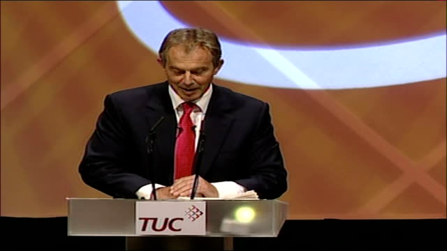 tony blair tuc conference speech tony blair mp speech sot why is the gallery full and why are the media here it's a pity the media's not here to hear... - made in the usa kort fras bildbanksvideor och videomaterial från bakom kulisserna