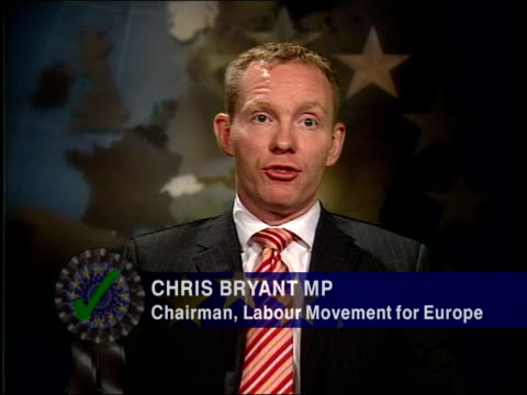tony blair u-turn on eu constitution; itn england: london: i/c int chris bryant mp interviewed sot - everyone in britain should be welcoming this... - bureaucracy stock videos & royalty-free footage