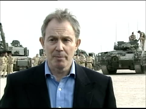tony blair visit and speech to troops in basra; blair towards camera and speaking to press sot - iraqi-isation of police and army forces/ political... - iraq stock videos & royalty-free footage