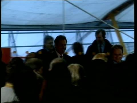 Tony Blair visit ITN ENGLAND London Greenwich Millennium Dome Tony Blair MP with John Prescott MP Michael Heseltine MP PierreYves Gerbeau and others...