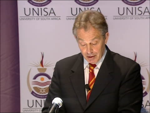 tony blair visit speech at university of south africa business school there is a real chance the g8 plus 5 dialogue that we established at gleneagles... - extremism stock videos & royalty-free footage