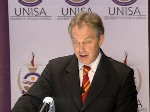 tony blair visit speech at university of south africa business school and there is the possibility now in a different and more strategic approach... - double chance stock videos & royalty-free footage